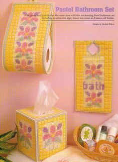 PASTEL BATHROOM SET TISSUE COVER PLASTIC CANVAS PATTERN INSTRUCTIONS   | Crafts, Needlecrafts & Yarn, Embroidery & Cross Stitch | eBay!