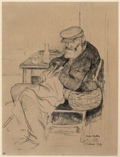 """Jules Adler, """"Cheminot assis près d'une table, sa besace à l'épaule"""""""