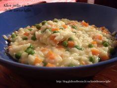Risotto con piselli, carote e Philadelphia, ricetta primo piatto vegetariano