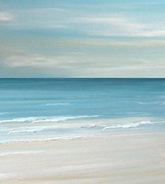 Beach seascape painting print  Blue Coastal Ocean by FradetFineArt, $40.00: