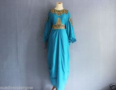 Embroidery-Kaftan-Long-Dress-Bridesmaid-Wedding-Caftan-Moroccan-Tosca-Blue-Dress