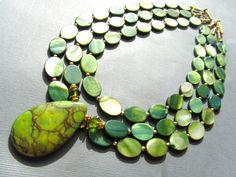 Bib Statement Necklace Green Zebra Jasper Green by PrairieIce, $85.00