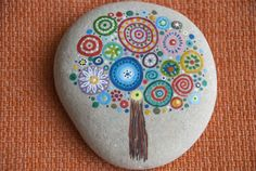 Your place to buy and sell all things handmade Dot Art Painting, Pebble Painting, Pebble Art, Stone Painting, Pebble Stone, Mandala Painted Rocks, Hand Painted Rocks, Painted Pebbles, Rock Painting Ideas Easy