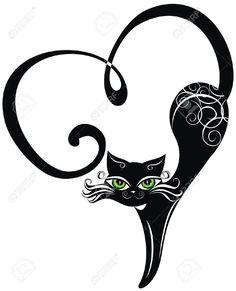 Coloriage Coeur Et Chat.28 Meilleures Images Du Tableau Silhouette Chat Noir Cat Art