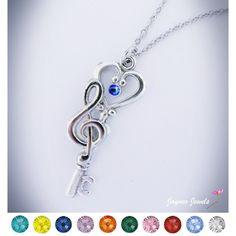 Key Clef Necklace, Fantasy Key Pendant, Swarovski, Treble Clef, Music... ($23) ❤ liked on Polyvore featuring jewelry, necklaces, stone necklaces, pendant necklace, crystal jewellery, crystal stone jewelry and stone pendant necklace