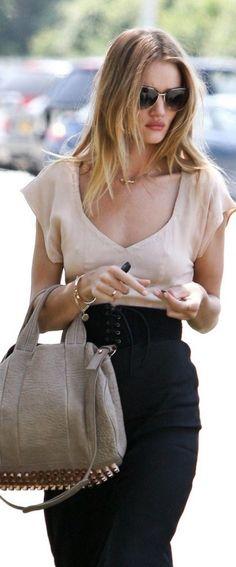 sweetheart blouse / corset belt / pencil skirt / Rosie Huntington-Whiteley
