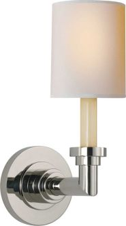 "WILTON SINGLE SCONCE; Height: 13 3/4""  Width: 5""  Backplate: 5"" Round Extension: 8"" Shade: 4 1/4"" x 4 1/2"" x 5 1/2"" Natural Paper Wattage: 1 - 60 Watt Type B Frosted Socket: Candelabra"