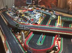 Check out these awesome slot track layouts from our customers. Slot Car Race Track, Ho Slot Cars, Slot Car Racing, Slot Car Tracks, City Model, Rc Cars, F1, Layouts, Diy Crafts