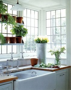 Herbs in your kitchen window indoor window garden, garden windows, window plants Farmhouse Kitchen Decor, Dream Kitchen, My Ideal Home, Garden Windows, Corner Window, Indoor Window Garden, Kitchen Window, Indoor Window, Kitchen Remodel