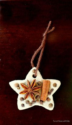 Christmas Crafts : Chai Tea Salt Dough and Whole Spice Ornaments Christmas Activities, Christmas Crafts For Kids, Holiday Crafts, Yule Crafts, Santa Crafts, Salt Dough Crafts, Salt Dough Ornaments, Ornaments Recipe, Salt Dough Christmas Decorations