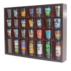 28 Shot Glass Holder Shelf Display Case Cabinet Free Shipping