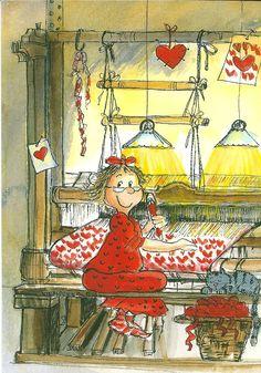 Hearts - Art by Virpi Pekkala Illustration Mignonne, Art Et Illustration, Art Fantaisiste, Art Mignon, Naive Art, Heart Art, Whimsical Art, Cute Art, Illustrators