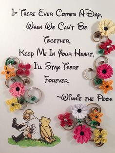 Quilling Framed Art Inspirational Quote Pooh