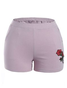 fb341de730a Floral Embroidered High Waisted Shorts (Light purple) Plus Size Womens  Clothing