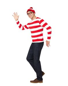 Where's Waldo Adult Mens Costume at Spirit Halloween - Make everyone pick you out of the crowd when you wear the officially licensed Where's Waldo Adult Men's Costume. This red and white stripe long sleeve shirt comes complete with a matching hat and Waldo glasses. Get yours for $34.99