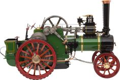 LIVE STEAM SCALE MODEL ALLCHIN TRACTION ENGINE  17 x 23 x 11-1/4 inches (43.2 x 58.5 x 28.6 cm)  A finely engineered 1.8 scale working model of a classic circa 1925 Allchin 'Royal Chester' type agricultural engine finished in classic green and red paint.. Fully operational model with chain steering, polished and painted metal and brightwork.