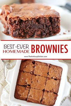 These are the best homemade brownies EVER! Soft, chewy, and loaded with big chocolate flavor, this easy brownie recipe is guaranteed to be the best you've ever had! They're quick to throw together and require only simple baking ingredients! Chocolate Chip Brownies, Nutella Brownies, Chewy Brownies, Big Chocolate, Chocolate Chip Cookie Dough, One Bowl Brownies, Homemade Chocolate, Quick Chocolate Desserts, Brownie Oreo