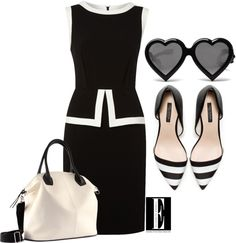 A fashion look from March 2013 featuring sleeveless dress, flat shoes and vegan purses. Browse and shop related looks. Office Fashion, Work Fashion, Business Fashion, Cute Fashion, Womens Fashion, Classy Outfits, Stylish Outfits, Beautiful Outfits, Cute Outfits