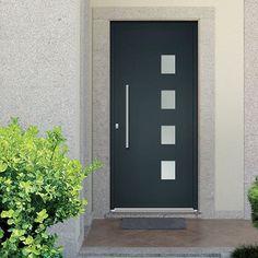Porte Aluminium Porte Entree Belm Classique Poignee Plaque Gris - Prix porte entree alu