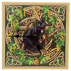 Hippy Clock~Pagan Hippy Black Cat with Pentagram Clock~Fair Trade by Folio Gothic Hippy~CKP06