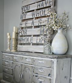 Pledge your love again and again with a permanent piece of art to hang in your bedroom. A repurposed wood pallet makes the perfect canvas for a stenciled message. Get the tutorial from the Lily Pad Cottage   - CountryLiving.com