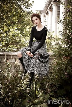 black #tee x print maxi #skirt :: Go Ara for InStyle, September 2014