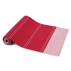 Briscoes - Just Home Jenna Panelled Red Runner Table Runners, Beach Mat, Outdoor Blanket, Dining Room, Creative, Red, Home, Ad Home, Homes