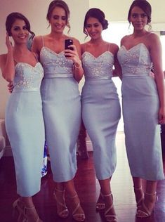 Buy Sexy Sheath Spaghetti Straps Ankle-Length Light Blue Bridesmaid Dresses with Beading 2016 Bridesmaid Dresses under US$ 124.99 only in SimpleDress.