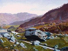 Oil Paintings of 3 Bowder Stone Borrowdale TCS city scenes landscape John Atkinson Grimshaw Art for sale by Artists Pierre Auguste Renoir, Edgar Degas, Atkinson Grimshaw, Oil Painting Gallery, Tate Gallery, Tate Britain, Framed Canvas Prints, Cumbria, Light Painting