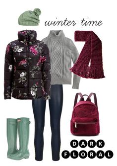 """""""winter flower"""" by supercoolusername ❤ liked on Polyvore featuring Pierre Balmain, J.Crew, Hunter, Joules, Volcom, Winter, winterstyle and darkfloral"""