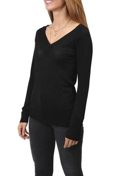 Yaya Black V-Neck Classic Jumper Sweater Weather, Jumper, V Neck, Blouse, Classic, Clothing, Sweaters, Collection, Black