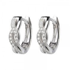 White Gold on Silver Twist Huggie Earrings - See lots more Hoop & Huggie Earrings at Affici.com