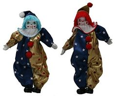 Porcelain Doll: Duo Clown Porcelain Dolls 8 Inches with Flag Day Cloth ** Details can be found by clicking on the image. Porcelain Doll, Image Link, Flag, Dolls, Christmas Ornaments, Clothes, Baby Dolls, Outfits, Clothing