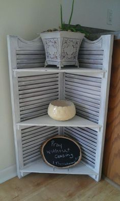 Thrifty Treasures: Make shutters into a corner shelf