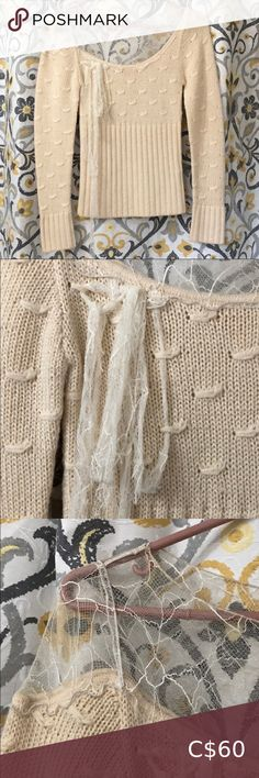 """Vintage Catherine Malandrino Alpaca&Lace Sweater Beautiful, vintage Catherine Malandrino cream coloured alpaca sweater. Excellent used condition, no stains, no hitches in the wool, and no tear in the lace neckline. Lay flat measurements: armpit to armpit 13"""", shoulder to hem 21.5"""" Catherine Malandrino Sweaters Lace Sweater, Merino Wool Sweater, Brown Sweater, Wool Sweaters, Cashmere Sweaters, Yellow Cardigan, Long Cardigan, Catherine Malandrino, Vintage Sweaters"""