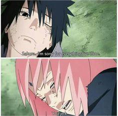 The most accurate scene in naruto I'm glad kishimoto decided to have sasuke apologize to Sakura and actually mean it. You can really tell that Sasuke is upset.