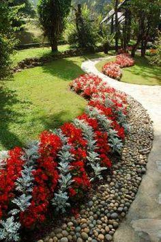 Front yards flower beds & vorgarten blumenbeete & parterre… - front yard ideas no grass Pebble Landscaping, Outdoor Landscaping, Front Yard Landscaping, Backyard Landscaping, Landscaping Ideas, Country Landscaping, Outdoor Decor, Landscape Borders, Flower Landscape