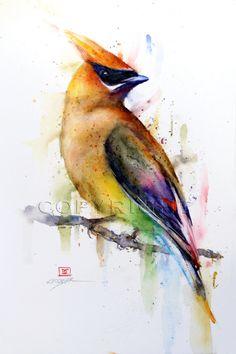 CEDAR WAXWING Watercolor Bird Print by Dean Crouser. $25.00, via Etsy.