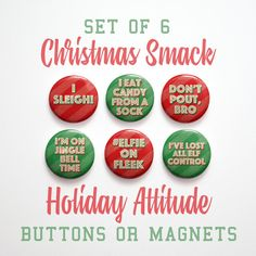 Button Pins Stocking Stuffer for teens, guys, girls. Funny Christmas Sayings Christmas by johnwgolden