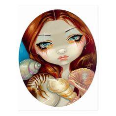"""Seashell Beauty"" Postcard   redhead characters, irish redhead, redhead art #redheadsrule #redheadsdoitbest #redheadbeauty, 4th of july party Redhead Art, Irish Redhead, Redhead Quotes, Redhead Costume, Redhead Characters, Redhead Fashion, Mermaid Art, Fairy Art, Beauty Art"