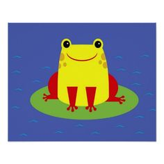 Cheerful frog sitting on lily pad print Click on photo to purchase. Check out all current coupon offers and save! http://www.zazzle.com/coupons?rf=238785193994622463&tc=pin