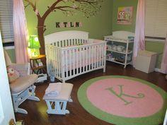 Custom Initial Rug For An Adorable Lime Light Pink Nursery