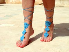 Crochet blue Barefoot Sandals, Nude shoes, Foot jewelry, Wedding, Victorian Lace, Sexy, Yoga, Anklet , Bellydance, Steampunk, Beach Pool