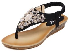 IDIFU Women's Bohemia Rhinestone Beaded Low Heels Wedge Elastic Thong Sandals Shoes Black 8.5 B(M) US. Special bead and rhinestones decorated; Unique and apart from other similar items. Split open toe, low top, low wedge heel and thong design; Classic, casual, elegant and fashionable. Durable, breathable and anti-skid; Healthy and safe for your feet; Well protect your feet. Suitable for summer, beach and holiday; A good gift for your better half and good friends. Fitted with any other...