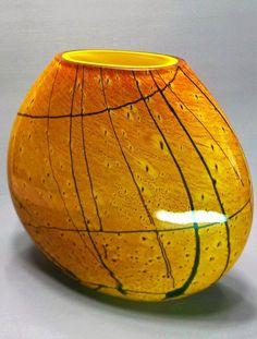 Impressionante Vaso Sueco Em Vidro De Três Camadas Padrão Cat's Eye (Olho de…