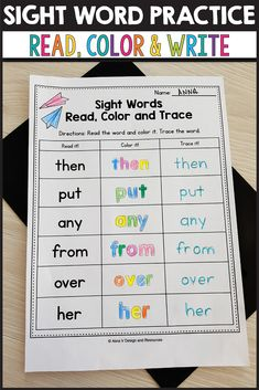 Sight Word Practice for Preschool, Kindergarten and Grade - Read, Color and Trace activities. This printables are a great way to help your students practice the Dolch sight words list on paper. The first grade kids will use these worksheets to color, 1st Grade Activities, Sight Word Activities, Teaching Activities, Classroom Activities, Teaching Ideas, Classroom Ideas, Sight Words List, Dolch Sight Words, Sight Word Practice