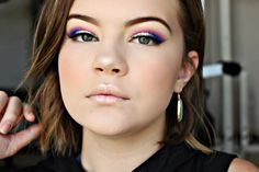"""NYX Face and Body Glitter in """"Crystal"""" on the lids. Urban Decay Electric Palette (""""Savage, Chaos, and Gonzo"""" in the crease.) Lacolors Dramatilashes in the style """"Dainty."""" Instagram: justwingit_ YouTube: Madison Lee"""