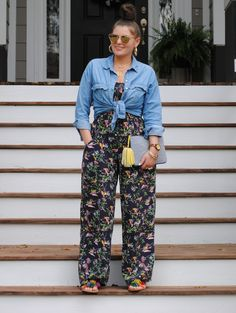 Plus Size Summer Outfits Plus Size Summer Outfits Plus Size Summer Outfit with Floral Print Jumpsuit and Blue Denim Shirt<br> Summer Outfits Women Over 40, Plus Size Summer Outfit, Dress Plus Size, Casual Summer Outfits, Plus Size Outfits, Plus Size Holiday Outfits Summer, Plus Size Summer Clothes, Summertime Outfits, Chambray Shirt Outfits