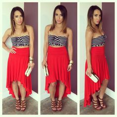 Red skirt. Crop top. Fashion: skirts