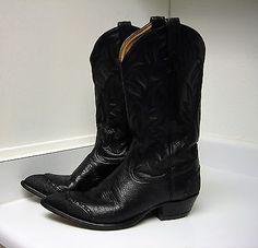Vintage Classic Tony Lama Cowboy Boots Men's 9.5D Stingray and Black Leather